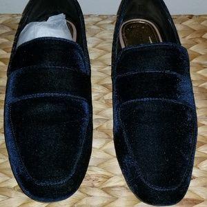 Navy Blue Velvet loafers